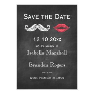 El bigote y los labios ahorran la fecha invitación 12,7 x 17,8 cm