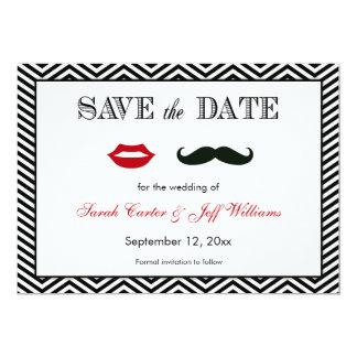 """El bigote y los labios Chevron ahorran las Invitación 5"""" X 7"""""""