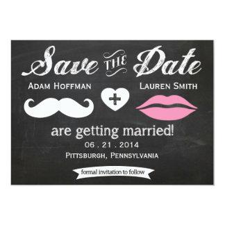 El bigote y los labios de la pizarra ahorran la invitación 12,7 x 17,8 cm