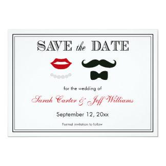 El bigote y los labios del vintage ahorran las invitación 12,7 x 17,8 cm