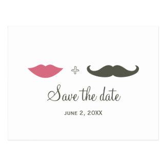 El bigote y los labios elegantes ahorran la fecha postales