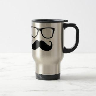 el bigote y los vidrios son divertidos taza térmica
