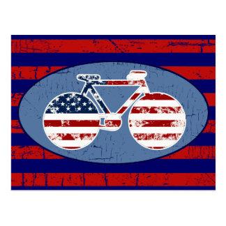 el biking americano de las rayas del red&blue tarjeta postal