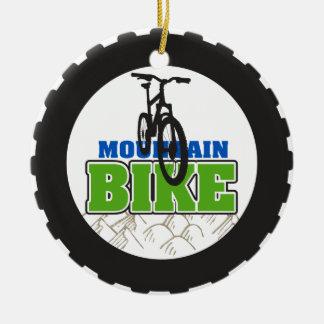 El Biking de la bici de montaña Adorno Navideño Redondo De Cerámica