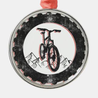 El Biking de la montaña Adorno Navideño Redondo De Metal