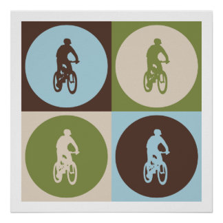 El Biking de la montaña del arte pop Póster