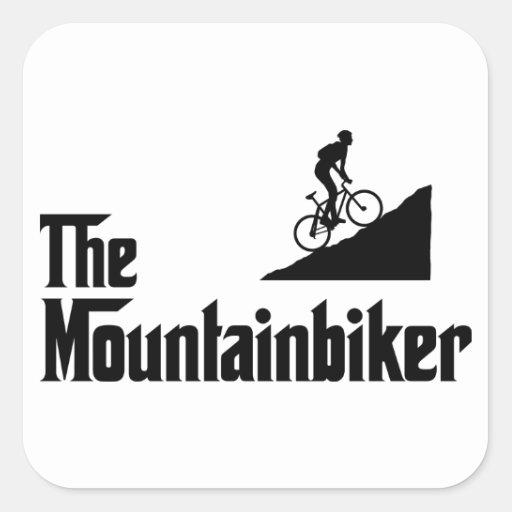 El Biking de la montaña Calcomania Cuadradas Personalizada