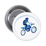 El Biking del vector del motorista de la suciedad Pin Redondo De 2 Pulgadas