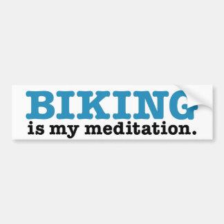El Biking es meditación (la ruta azul) Pegatina De Parachoque