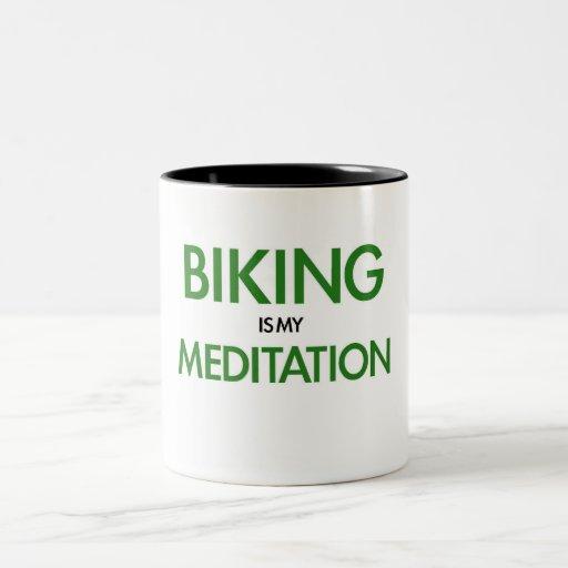 El Biking es mi meditación Taza De Café De Dos Colores