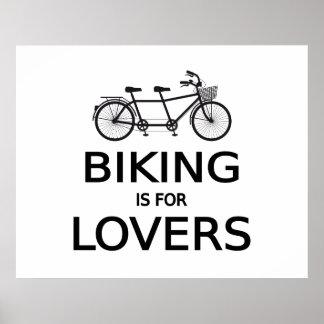 el biking está para los amantes, bicicleta en tánd póster