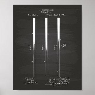 El billar cuenta el arte de 1879 patentes - póster