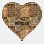 El bingo del vintage carda el collage - pegatina