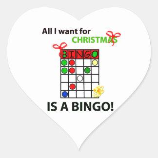 El BINGO I quiere un bingo para el navidad Pegatina En Forma De Corazón