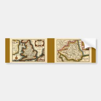 El Bishopprick del mapa del condado de Durham, Ing Pegatina Para Auto