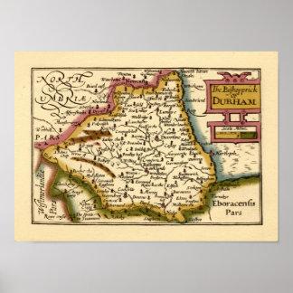 El Bishopprick del mapa del condado de Durham, Ing Póster