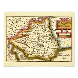"""El Bishopprick del mapa del condado de Durham, Invitación 4.25"""" X 5.5"""""""