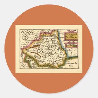 El Bishopprick del mapa del condado de Durham, Pegatina Redonda