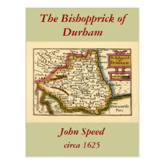 El Bishopprick del mapa del condado de Durham, Tarjeta Postal