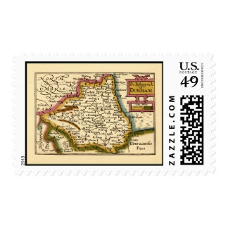 El Bishopprick del mapa del condado de Durham, Timbre Postal