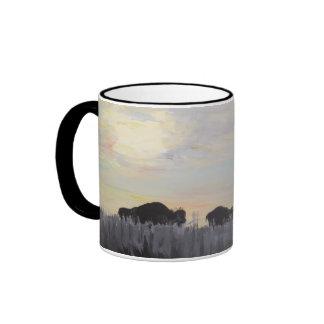El bisonte americano - pintura de acrílico tazas de café