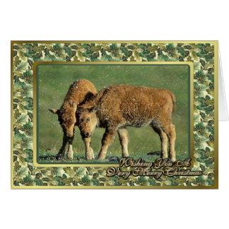 El bisonte pare tarjeta de Navidad animal norteame