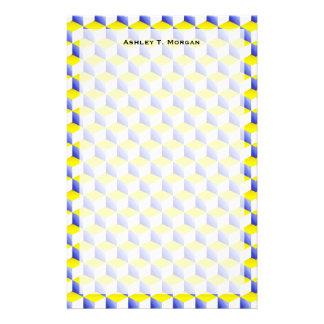 El blanco amarillo azul claro sombreó los cubos de papeleria de diseño