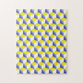 El blanco amarillo azul claro sombreó los cubos de rompecabezas con fotos