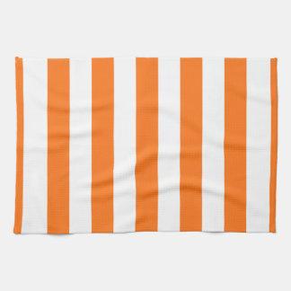 El blanco anaranjado XL de la calabaza raya el Toallas De Mano