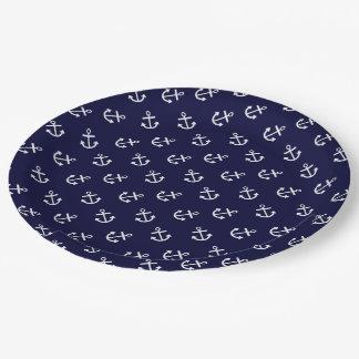 El blanco ancla el modelo del fondo de los azules plato de papel 22,86 cm