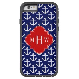El blanco ancla los azules marinos, monograma funda para  iPhone 6 tough xtreme