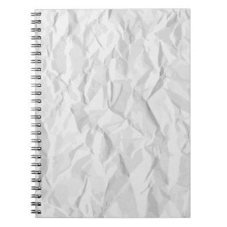 El blanco arrugó la textura de papel spiral notebook