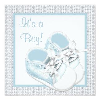 """El blanco azul calza la ducha azul del bebé del invitación 5.25"""" x 5.25"""""""