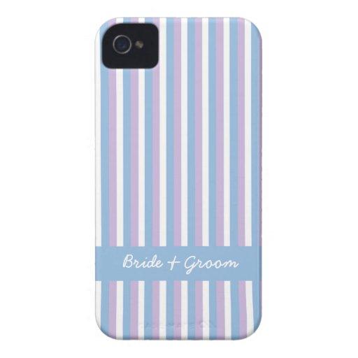 El blanco azul de la lila raya el iPhone azul 4 iPhone 4 Case-Mate Cárcasa