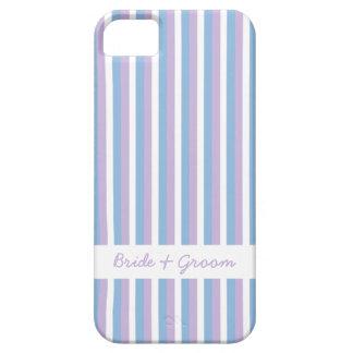 El blanco azul de la lila raya el iPhone blanco 5 Funda Para iPhone 5 Barely There