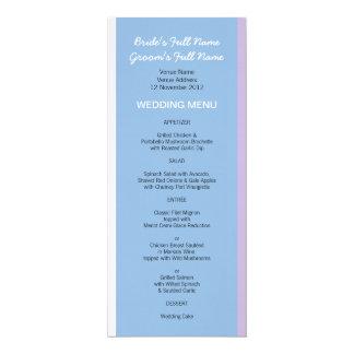 """El blanco azul de la lila raya el menú azul del invitación 4"""" x 9.25"""""""