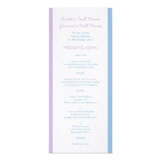 """El blanco azul de la lila raya el menú blanco del invitación 4"""" x 9.25"""""""