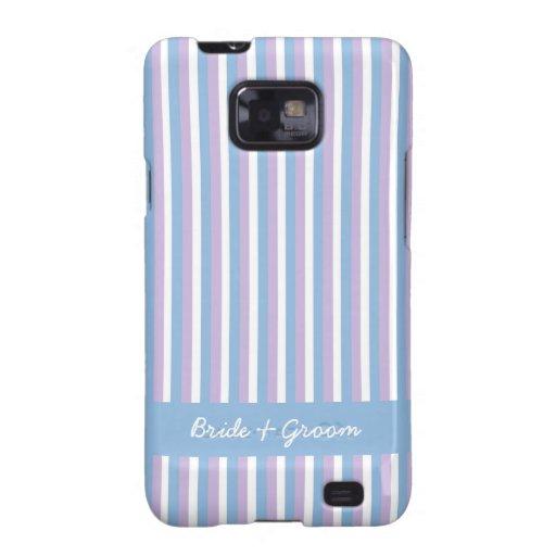 El blanco azul de la lila raya la caja azul de Sam Samsung Galaxy SII Carcasa