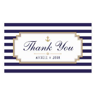 El blanco azul náutico elegante le agradece las tarjetas de visita