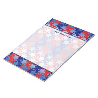 El blanco azul protagoniza rayas azules rojas blocs de notas