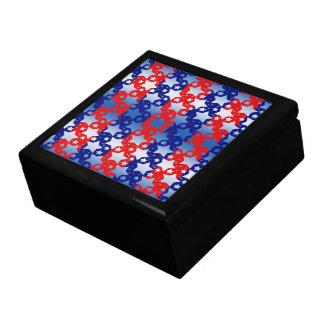 El blanco azul protagoniza rayas azules rojas caja de regalo cuadrada grande