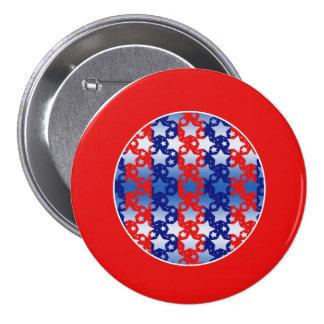 El blanco azul protagoniza rayas azules rojas pin redondo de 3 pulgadas
