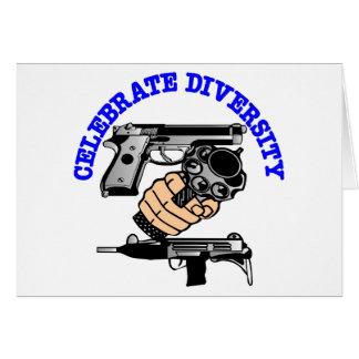 El blanco celebra los armas de la diversidad tarjeta de felicitación
