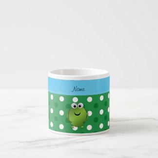 El blanco conocido de encargo del verde de la rana taza espresso