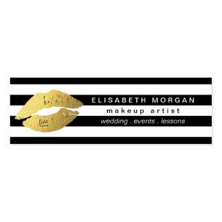 El blanco de moda del negro de los labios del oro tarjetas de visita mini