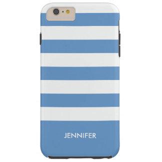 El blanco de Monogramed raya el fondo del azul de Funda De iPhone 6 Plus Tough