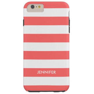 El blanco de Monogramed raya el fondo rojo coral Funda De iPhone 6 Plus Tough