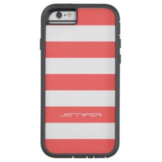 El blanco de Monogramed raya el fondo rojo coral Funda De iPhone 6 Tough Xtreme