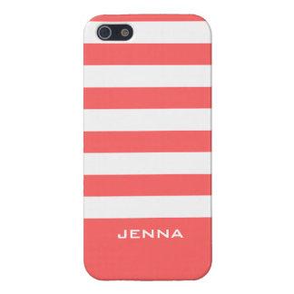 El blanco de Monogramed raya el fondo rojo coral iPhone 5 Carcasas