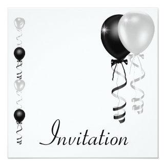 """El blanco de plata negro hincha acontecimiento invitación 5.25"""" x 5.25"""""""